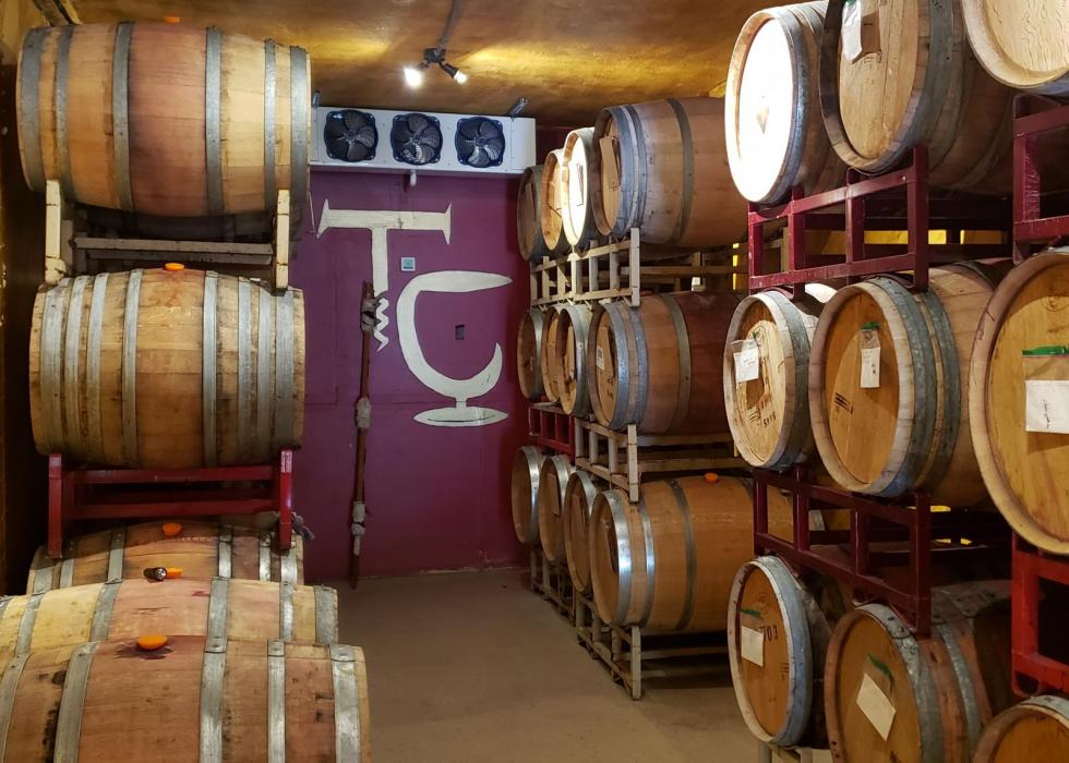 Climate-controlled barrel room.