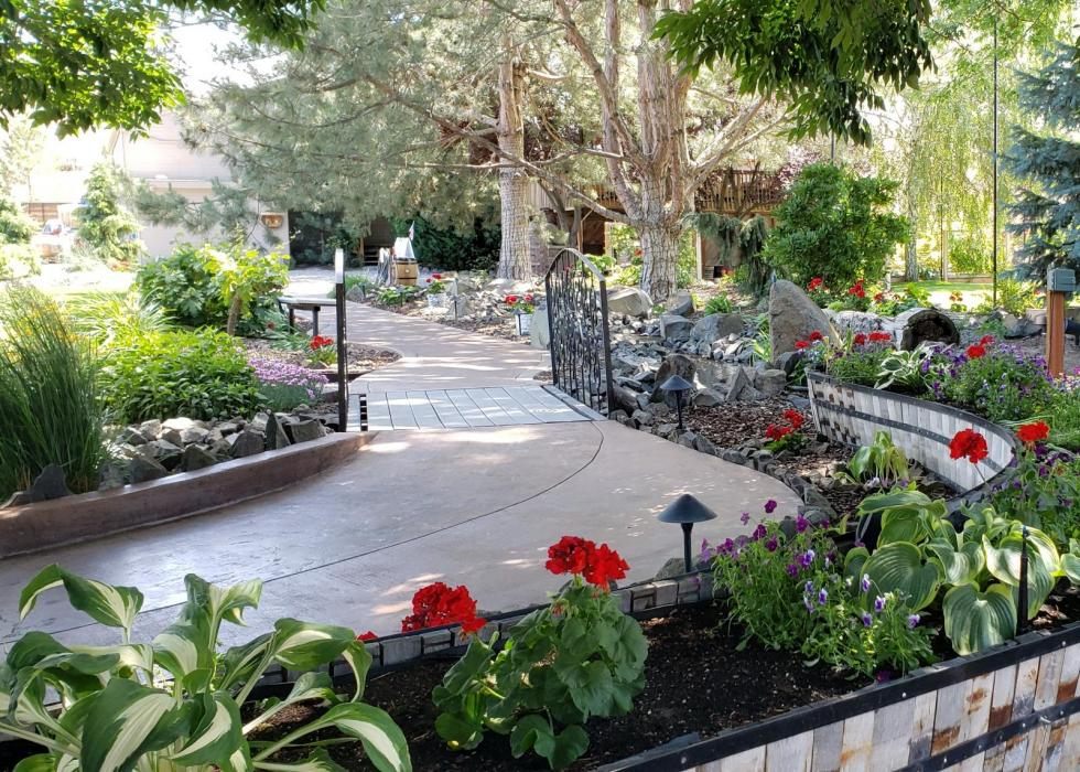 Scenic gardens with pristine paths and lush grounds.